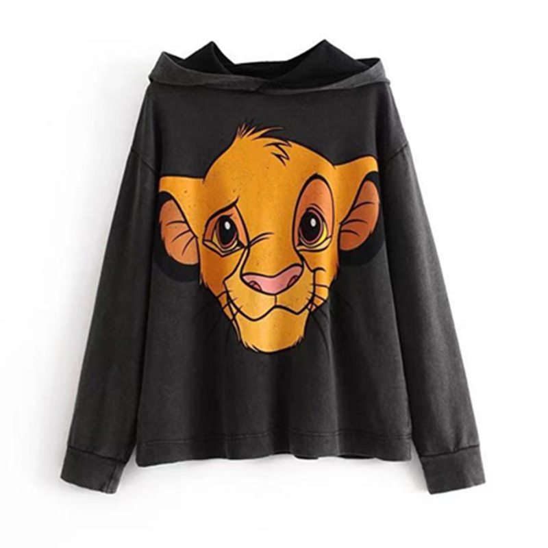 Harajuku The Lion King Cartoon Print Hoodie Women Loose Casual Cute Long Sleeve Pullover Tops Clothes Streetwear Sweatshirt D221