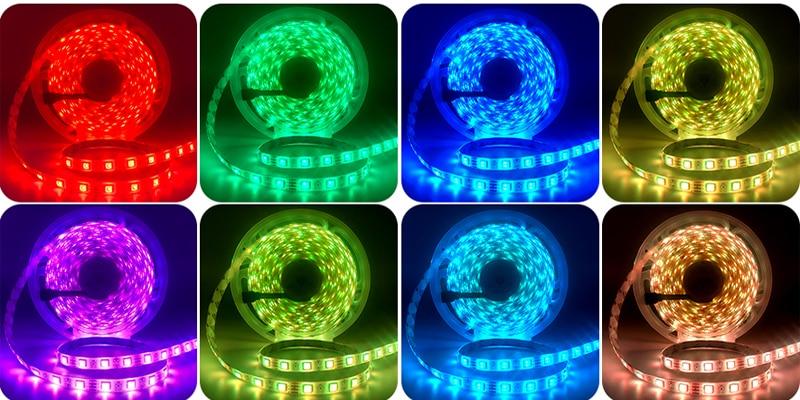 H127f3400c09b4f68a9b500775944742dd LED Strip Light RGB 5050 SMD 2835 Flexible Ribbon fita led light strip RGB 5M 10M 15M Tape Diode DC12V 60LEDs 1M+Control+Adapter
