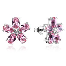 Fashion S925 Sterling Silver Earrings Inlaid with Swarovski Crystal Flowers Womens Jewelry Earing