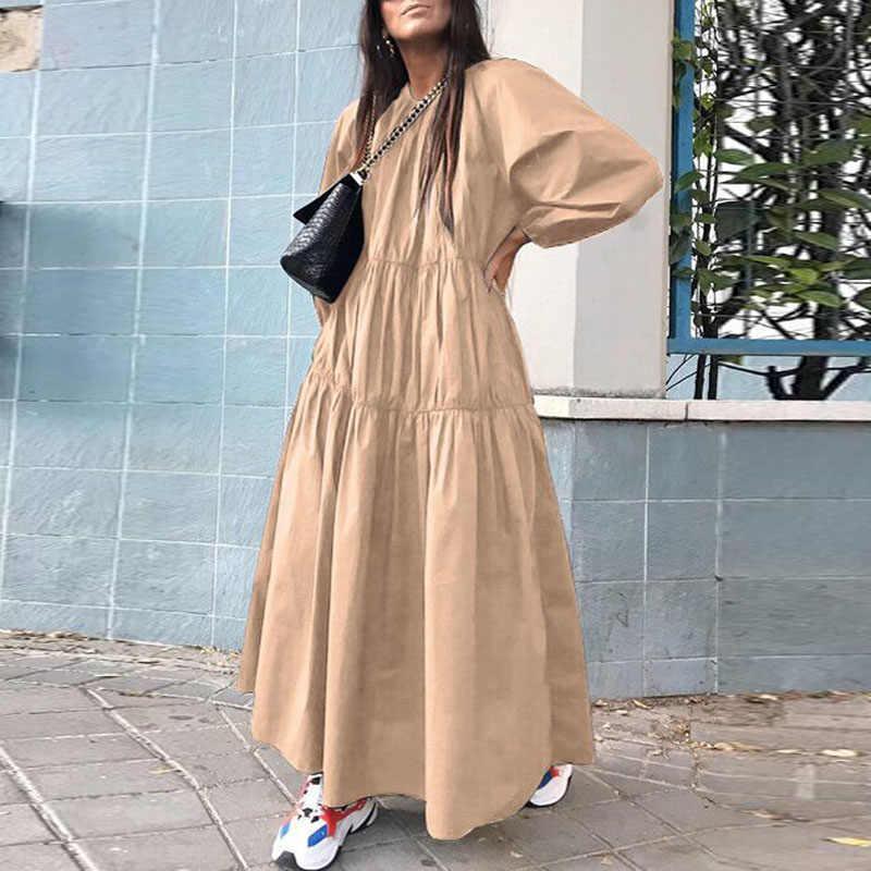 Herfst Vrouwen Elegante Lantaarn Lange Mouwen Jurk Mode O-hals Solid Maxi Jurken Vrouwelijke Plus Size Casual Losse Jurk Vestidos