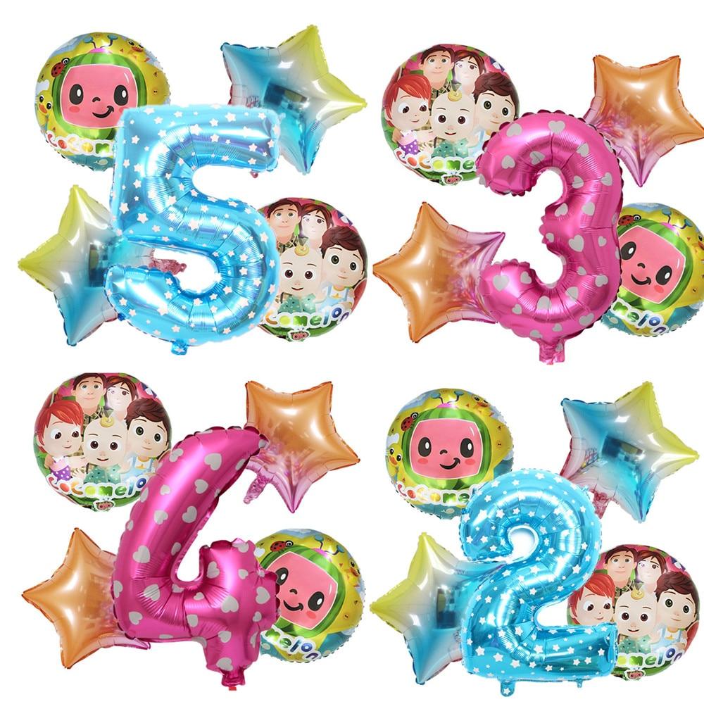 5 pçs cocomelon tema balão festa de aniversário conjunto decorações do chuveiro do bebê filme de alumínio balão número balões
