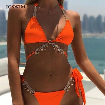 JCSWIM Rhinestone Bikini Mujer 2019 Bandage Swimwear Women Two Pieces Brazilian Swimsuit Female Summer Bathing Suit Biquini Set