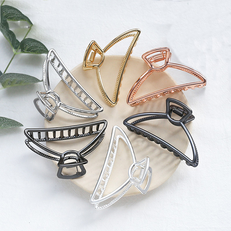 Women Girls Geometric Metal Hair Claw Clamp Hair Crab Half Moon Shape Hair Clip Hairpins Women Girls Hair Clamp Hair Accessorie