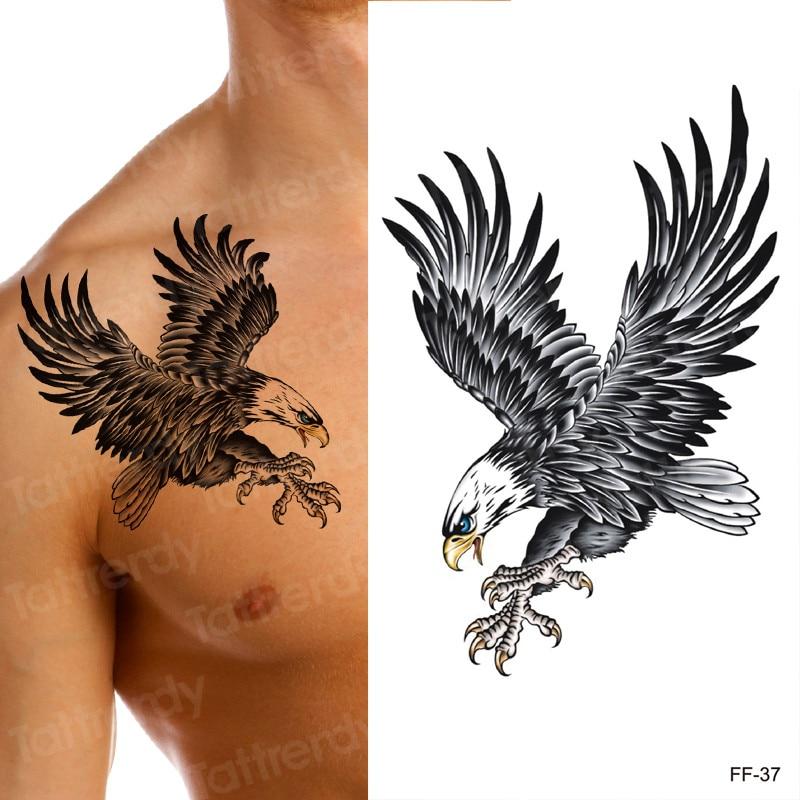 New Eagle Waterproof Temporary Body Art Arm Shoulder Chest Tattoo Sticker Women/Men Black Mermaid Dragon Water Transfer Tatoo