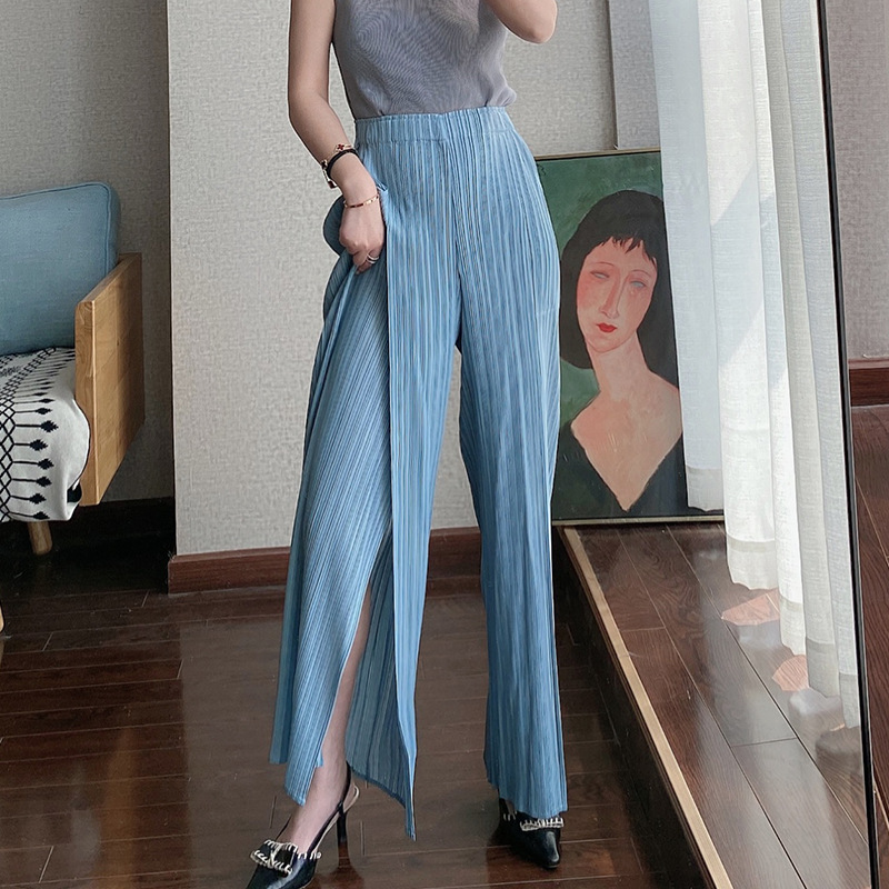 LANMREM Spring Summer New Pleated Wide Leg Pants Female 2020 High Waist Vent Bottoms Elastic Casual Pants Japan Style Tide YJ029