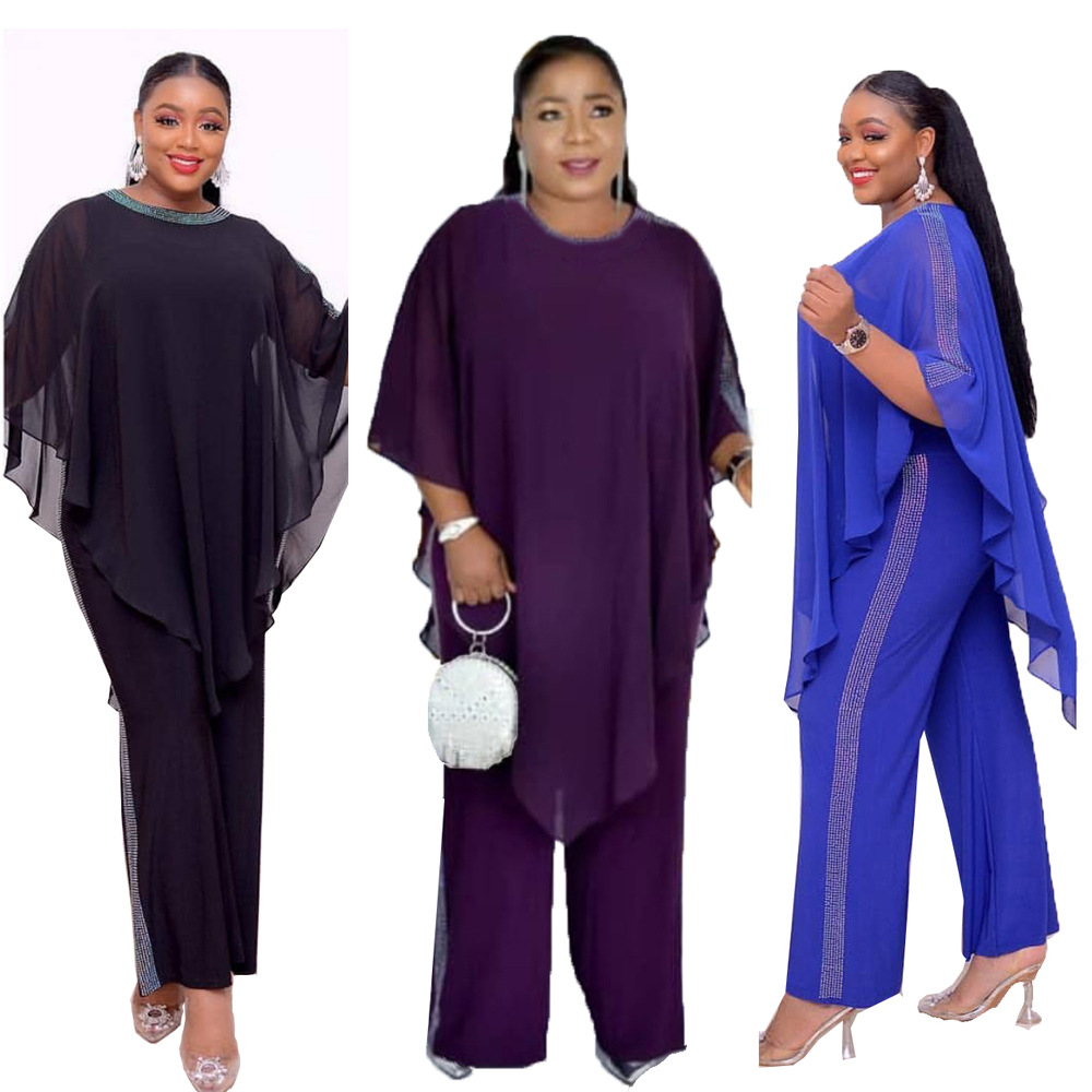 2019 Autumn Elegent Fashion Style African Women Polyester Plus Size Two Pieces Sets Top And Jumpsuit L-3XL