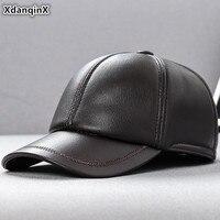XdanqinX Men's Sheepskin Leather Brands Cap Genuine Leather Hat Baseball Caps Simple Fashion Dad's Flat Cap Bone Snapback Cap