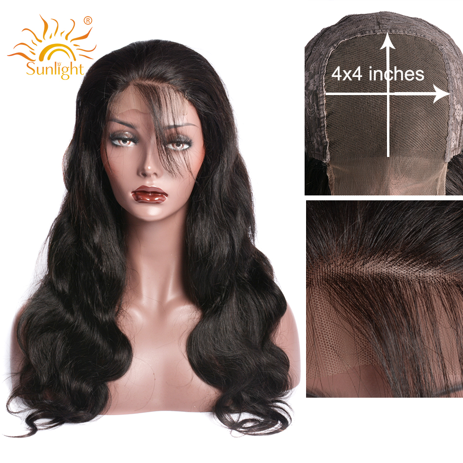 4x4 Closure Wig Brazilian Body Wave Wig Glueless Pre Plucked Lace Closure Wigs Sunlight Remy Human Hair Wigs For Black Women
