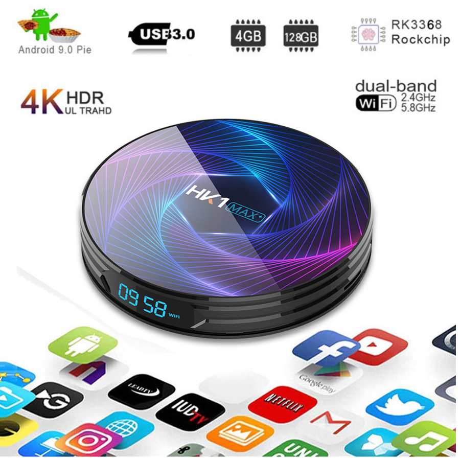 Smart <font><b>Tv</b></font> Box hk1 max plus rk3368pro <font><b>Octa</b></font> <font><b>Core</b></font> <font><b>Android</b></font> 9.0 Tvbox 4gb 128gb BT4.0 Youtube HD Netflix 4k H.265 Hk1max Set-Top Box image