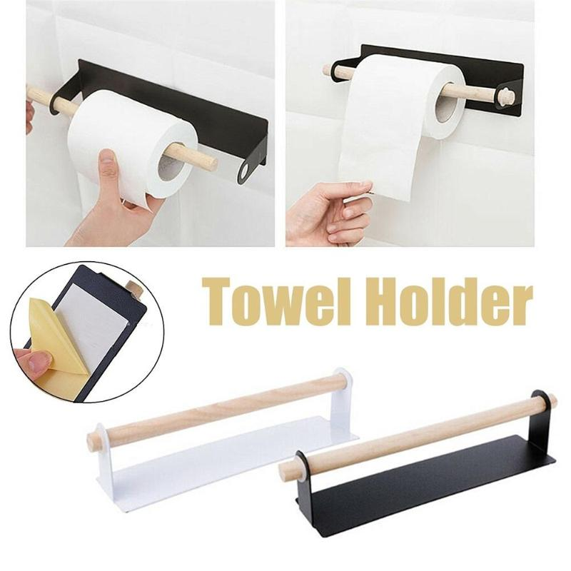 Adhesive Kitchen Towel Holder Bathroom Roll Paper Storage Rack Tissue Shelf