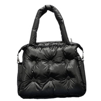 Winter New Women Handbags Space Pad Cotton Feather Down Retro Solid Bag Bucket Handbag Shoulder Bags Tote Portable Messenger Bag