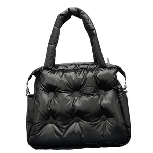 Image 2 - 2019 Winter Bags Space Pad Cotton Feather Down Single Shoulder Bags Padding Retro Solid Tote Casual Women Bucket Messenger Bag