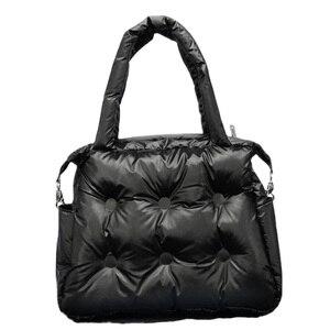 Image 2 - Зимние сумки 2019, вместительные хлопковые мешки с перьевым наполнителем, сумки на одно плечо, прокладка в стиле ретро, однотонная Сумка тоут, повседневная женская сумка мессенджер