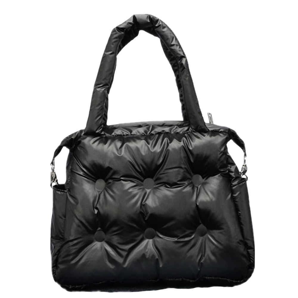 Musim Dingin Baru Wanita Tas Ruang Pad Katun Bulu Down Retro Solid Tas Ember Tas Bahu Tas Tote Portabel Tas Messenger