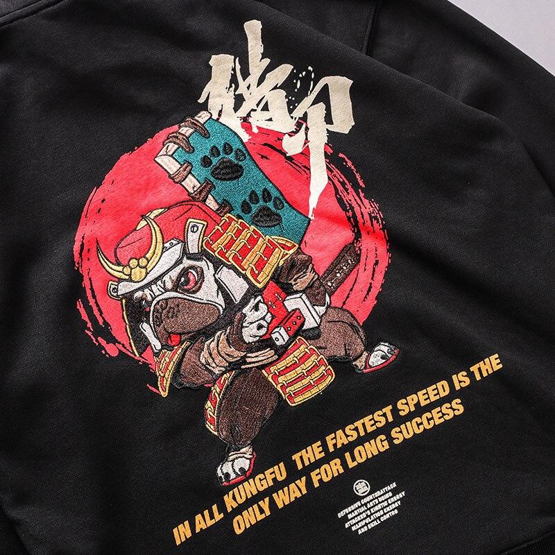 Image 4 - Мужская толстовка с капюшоном в стиле хип хоп, вышитая собачка  самурая, уличная, китайский Забавный пуловер худи Харадзюку, 2019  хлопокТолстовки и кофты