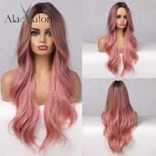 Alan eaton longo ombre preto rosa perucas naturais sintético cosplay ondulado perucas para preto feminino médio parte fibra de alta temperatura