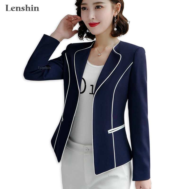 Lenshin Women Elegant Binding  Jacket Long Sleeve Blazer Fashion Work Wear Keep Slim Office Lady Coat Outwear Single Button