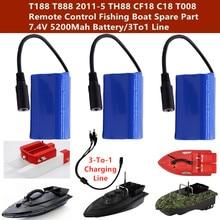 T188 T888 2011-5 TH88 CF18 C18 T008 2.4G Barco de Pesca De Controle Remoto Peças De Reposição 5200Mah 1 2 3 Bateria PCS/3 Para 1 Linha de Carregamento