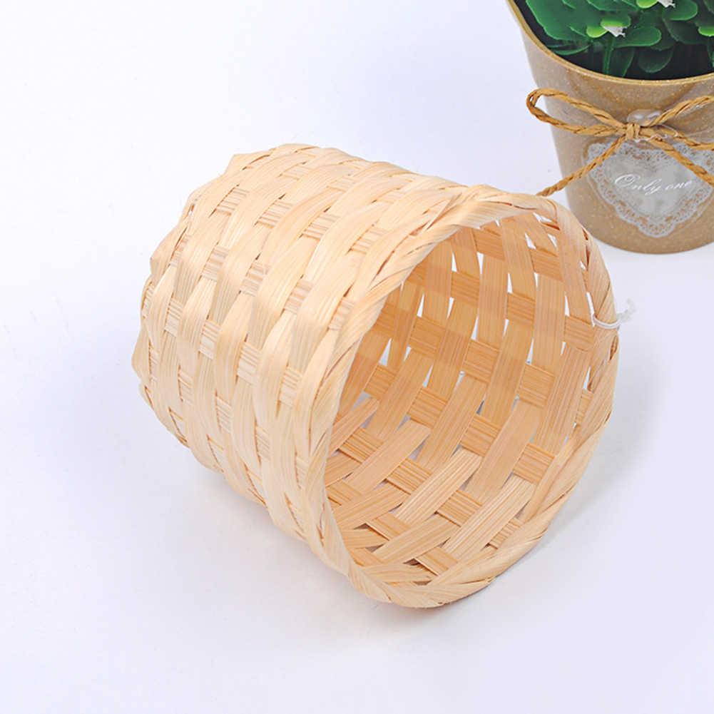 ในครัวเรือนไม้ไผ่ทอตะกร้าBra Sundries Organizerพืชหวายกล่องเดสก์ท็อปคอนเทนเนอร์สำหรับGardenแจกันดอกไม้cesta