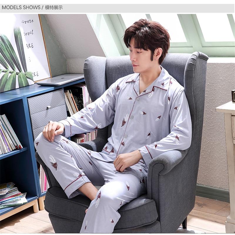 Mens Sleepwear Men Night Suit Man Feather Nightwear Youth Autumn Pajamas Set Long Sleeve Top Pants Set Male Homewear  L-XXXL
