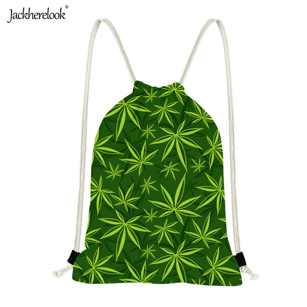 Jackherelook 2019 New Fashion Green Red Hemp Leaf/Weed Leaves Drawstring Bags Women Men Cycling Softback Gym Sack Running Bag