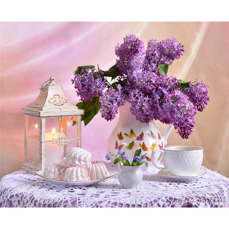 Painting By Numbers Frameworks Coloring By Numbers Home Decor Pictures Flowers Vase Decorations RSB8349