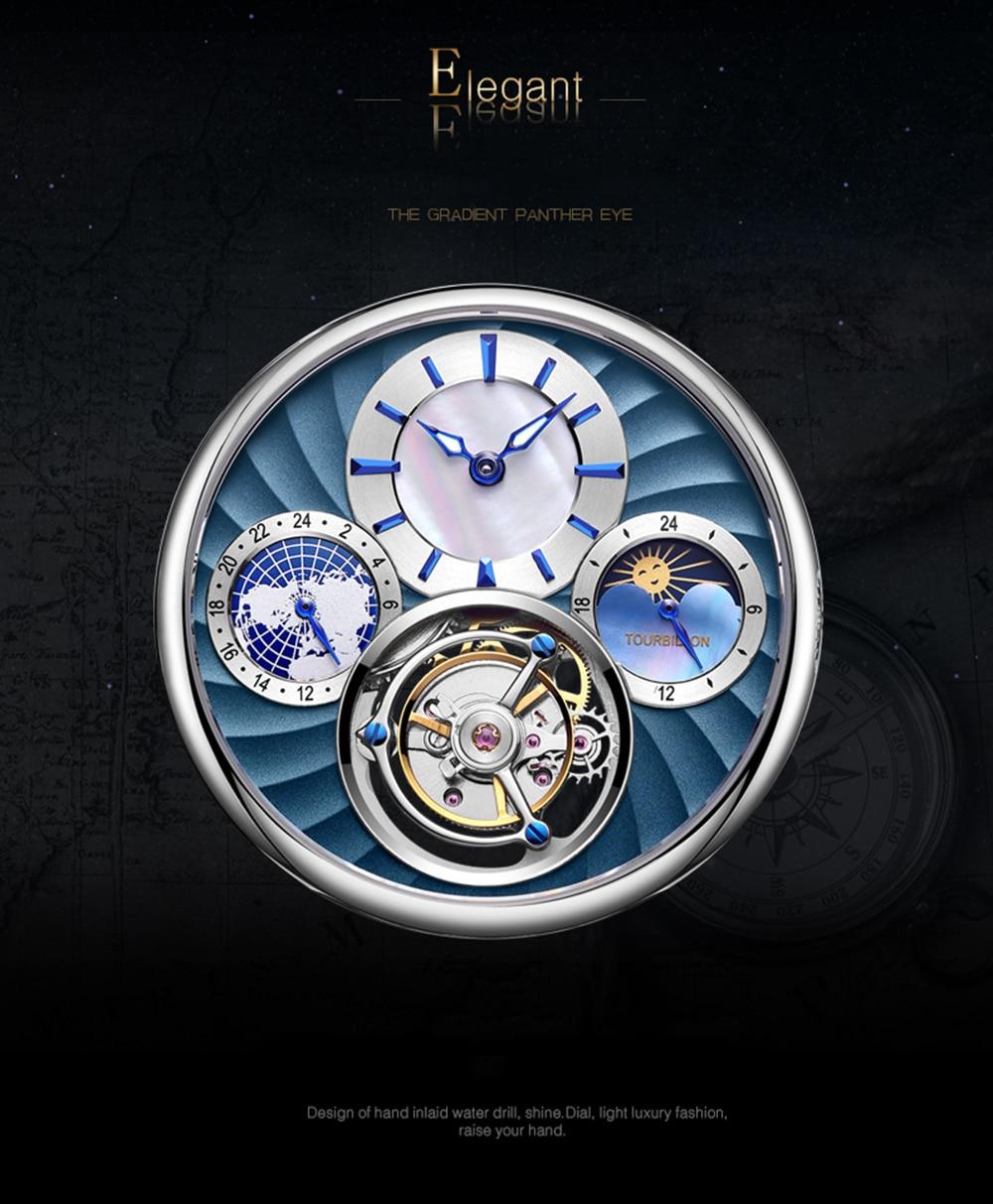 Original Tourbillon watch GUANQIN 2019 NEW clock men waterproof mechanical Sapphire leather top brand luxury Relogio Masculino 7
