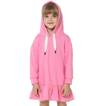 цена на Kids Girls Dress New Brand Baby Girls Blouse Solid Color Hooded Ruched Long Sleeve Children Clothing Dress Girls Clothes 3-8Y