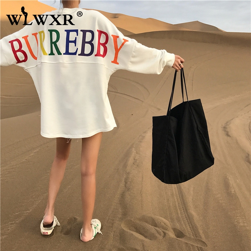 WLWXR Casual White Oversized Hoodie Dress Sweatshirt Women Tops Letter Print Loose Long Hoodie Sweatshirt Ladies Pullover Female