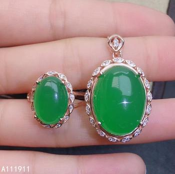 KJJEAXCMY boutique jewelry 925 sterling silver inlaid Natural Green chalcedony pendant ring popular women's suit support test