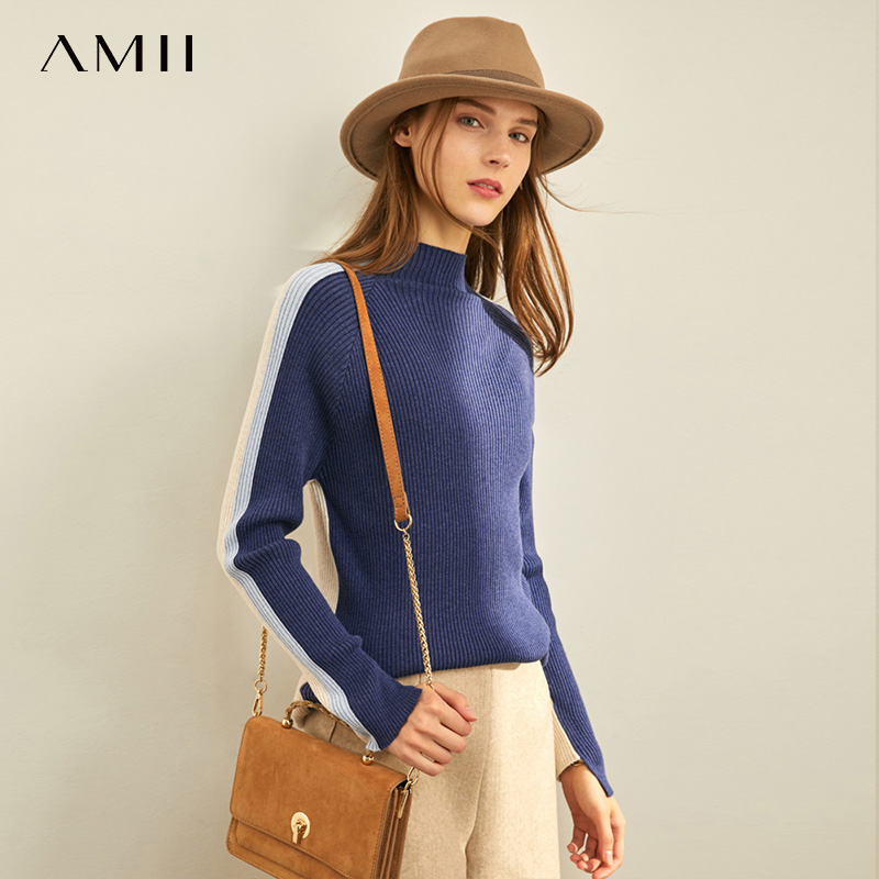 Amii Spring Foreign Style Women's Woolen T-Shirt New Style Outside Half High Neck Fit Pullover Bottoming 11940640