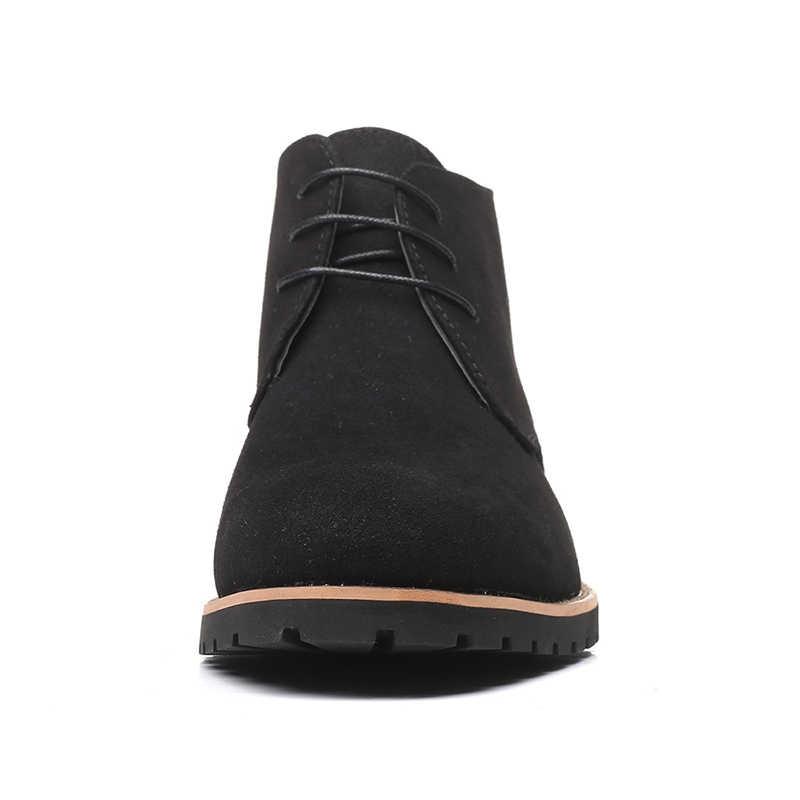 Nam Giày Da Thật Chính Hãng Da Thu Đông Giày Công Sở Nam Phối Ren Người Mắt Cá Chân Giày Mới ROXDIA Plus Size 39-48 RXM144
