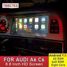 Android 9.0 4 + 64G araba multimedya oynatıcı Audi A6 C6 4F 2005 2006 2007 2008 2009 2010 2011 MMI 2G 3G Carplay Android oto