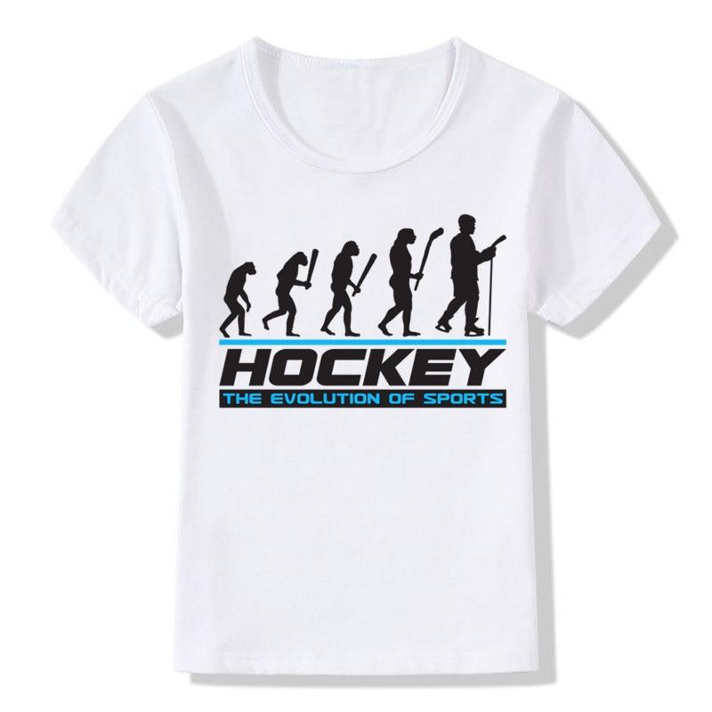 Футболка для мальчиков и девочек Evolution Of Ice Hockeyer, Детская летняя повседневная футболка с короткими рукавами, детские топы, футболки, детская ...