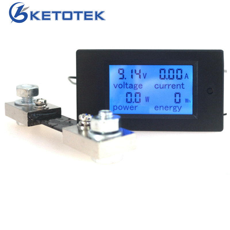 DC 6.5-100V 50A 20A 100A Digital DC Voltmeter Ammeter LCD 4 in 1 DC Volt Amp Power Energy Meter Tester with DC 50A/75mV Shunt