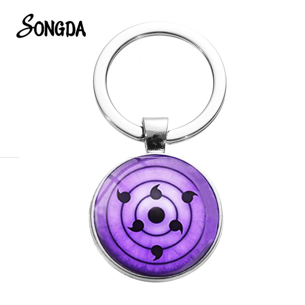 SONGDA Hot Sale Naruto Shippuden Keychain Round Uchiha Clan Sharingan Eye Cool Badges Cabochon Key Ring Fashion Anime Ornaments