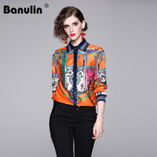Banulin High Quality Runway Blouse Women Fashion Designer Turn Down Collar Top Shirt Elegant Floral Print Office top