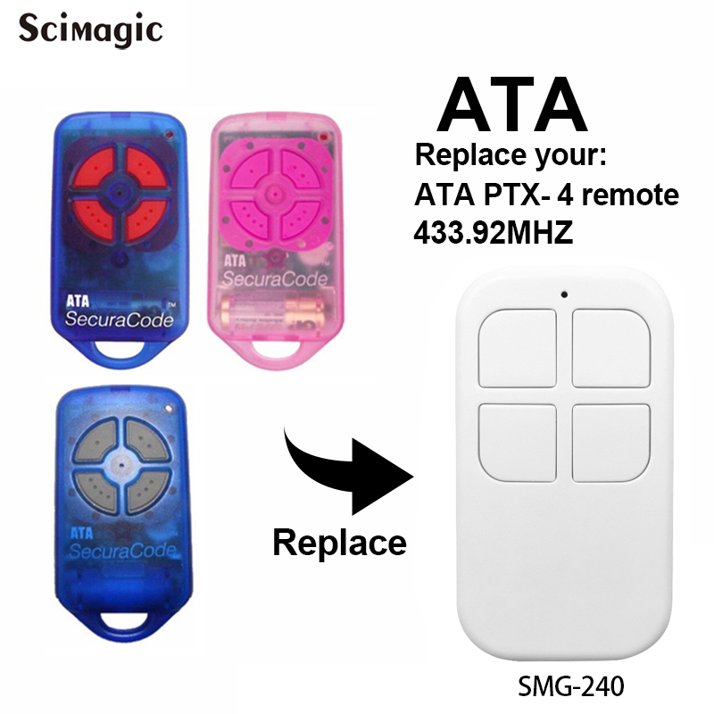 ATA SecuraCode Remote Control Replacement PTX4 PTX-4 Handheld Transmitter 433.92 MHz Rolling Code