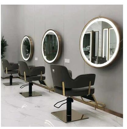 Barber's Special Lamp Mirror Hair Salon Hair Salon Mirror Studio Makeup Mirror With Lamp Single Side Double Side Round Mirror Ta
