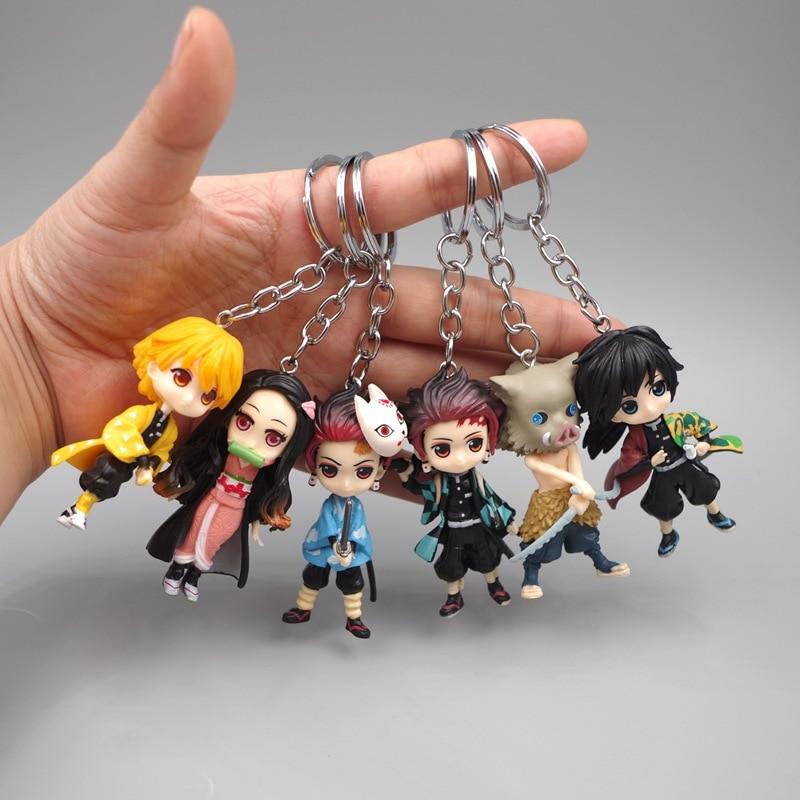 6pcs Anime Demon Blade Keychain Anime Kimetsu No Yaiba Figure Tanjirou Nezuko Action Figure Demon Slayer Figurine Toy Key Chain