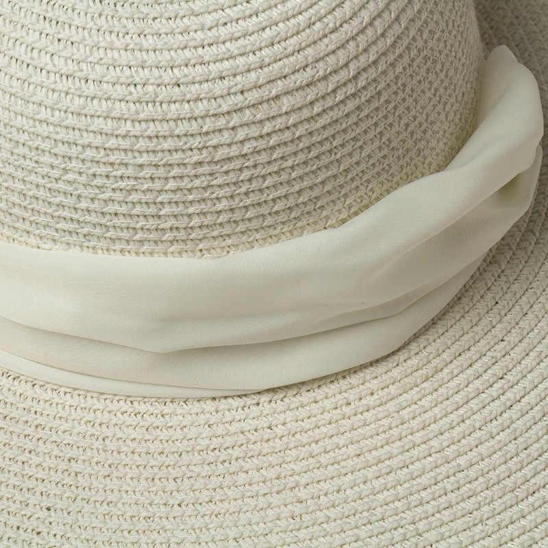 여자 화이트 25cm 대형 태양 모자 부드러운 실크 리본 넥타이 와이드 브림 플로피 모자 자이언트 비치 밀짚 모자 여름 Kuntucky 더비 모자 모자