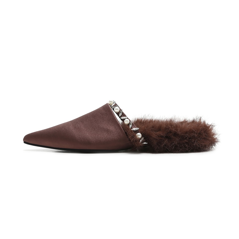 Women 39 s Muller shoes comfortable pigskin inside pointed fluffy plush decoration autumn winter shoes handmade female slippers in Slippers from Shoes