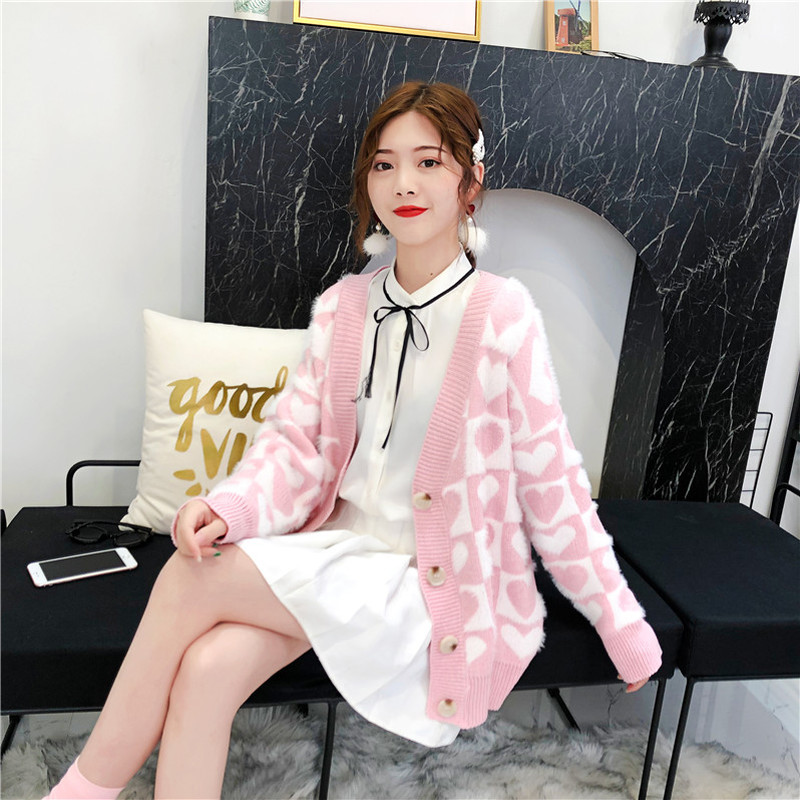 MinuoYi Women Sweater Cardigan Korean Fashion Pink Sweet Heart Graphic Knitted Sweaters Female Button Cardigans 2019 Winter Coat