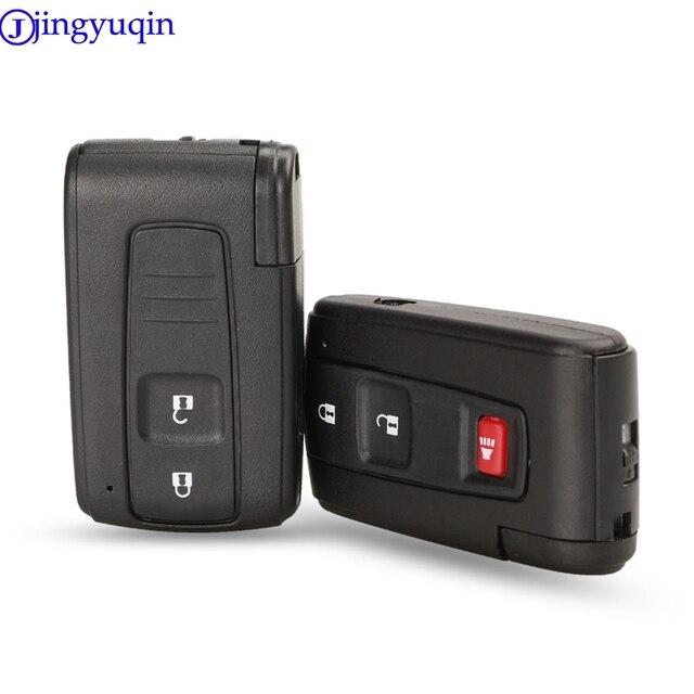 Jingyuqin capa para chave de carro, boa qualidade, 2/3 botões, controle remoto, inteligente, para toyota prius corolla, versão toy43, lâmina sem cortes