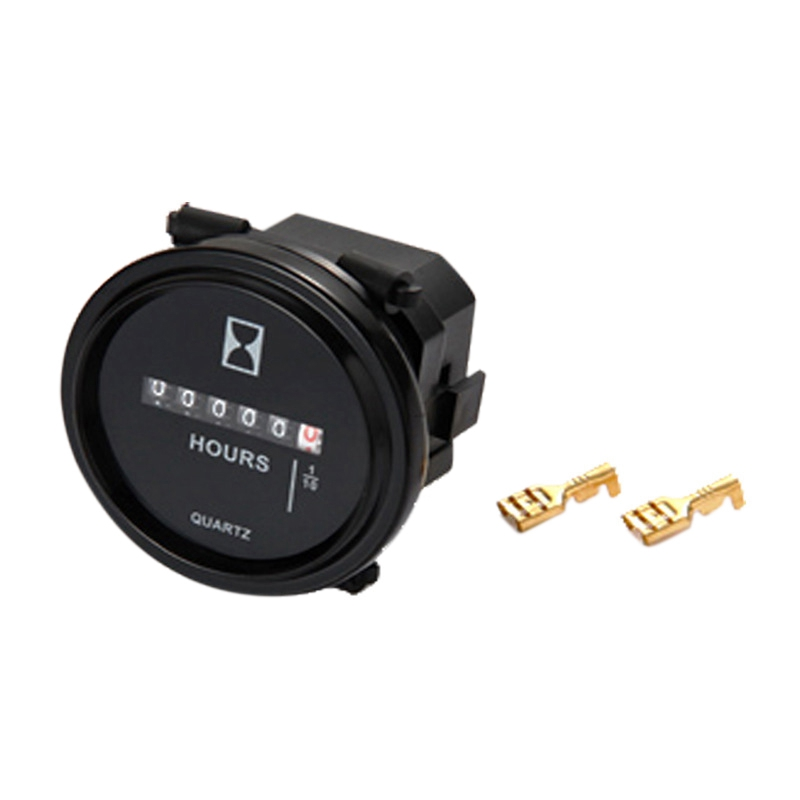 NEW-Snap in Hour Meter Round LCD Hour Meter Quartz Hour Meter AC110-250V for Fork Cart Boat Tractor Generator Engine Mower