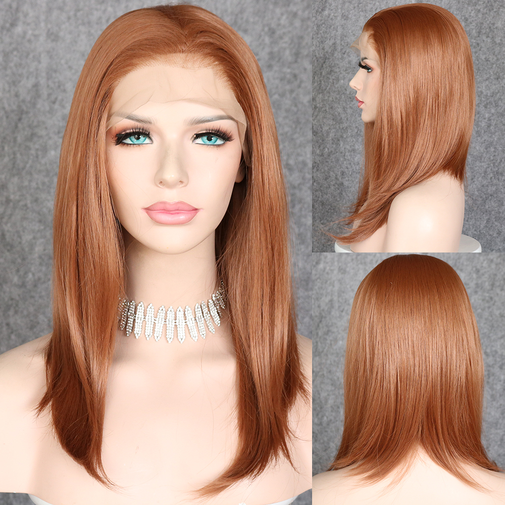Lvcheryl Short Bob Brown Color13x6 Synthetic Lace Front Wigs Futura Hair Wigs Heat Resistant Hair Wigs With Natural Hairline