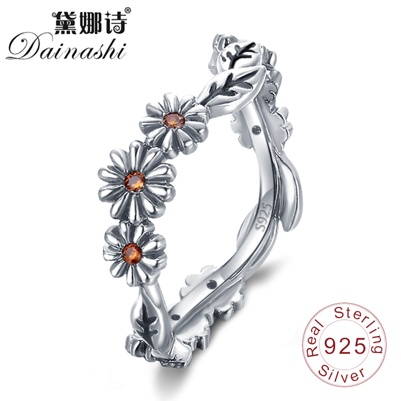 Dainashi New Release 925 Silver Finger RingsTwisted Daisy Flower Female Romantic Elegant Rings for Women Wedding Silver Jewelry