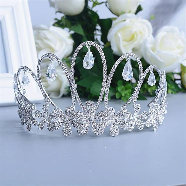 Crystal Crown Tiara Head Jewelry Hair Accessories Diadem Mariage Bijoux De Tete Cheveux Corona Casamento WIGO0719