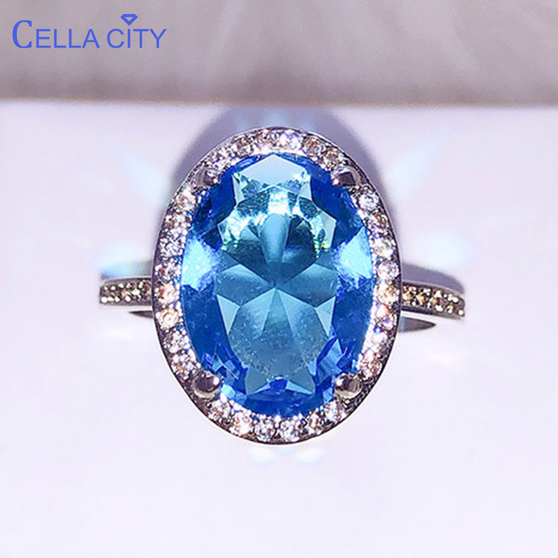Cellacity Temperament Aquamarine Ring For Women Trendy Silver 925 Jewelry Oval Shaped Gemstones Sea Blue Wedding Accessories