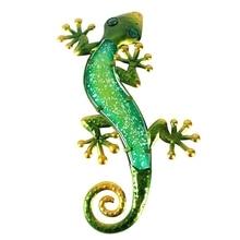 מתכת Gecko קיר קישוט יצירות אמנות עבור גן חיצוני פסלי מיניאטורות אביזרי ופיסול